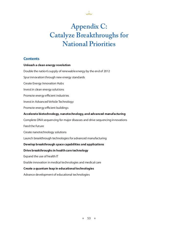 Appendix C:                    Catalyze Breakthroughs for                        national PrioritiesContentsUnleash a clea...