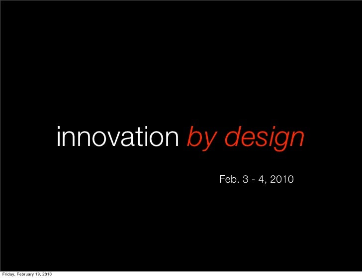 innovation by design - introduction