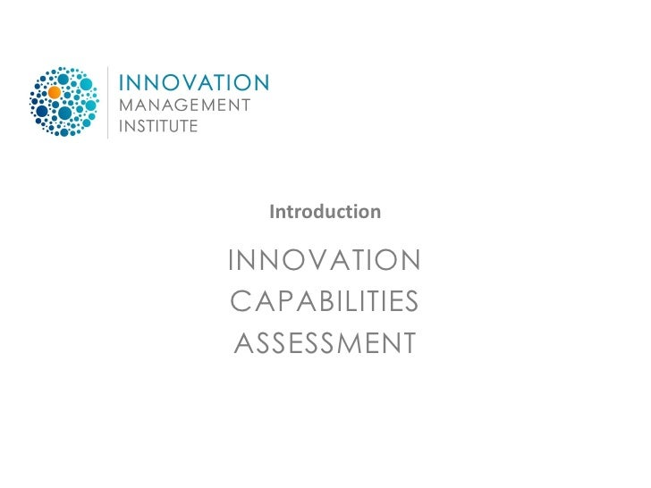 Introduction  INNOVATION CAPABILITIES  ASSESSMENT