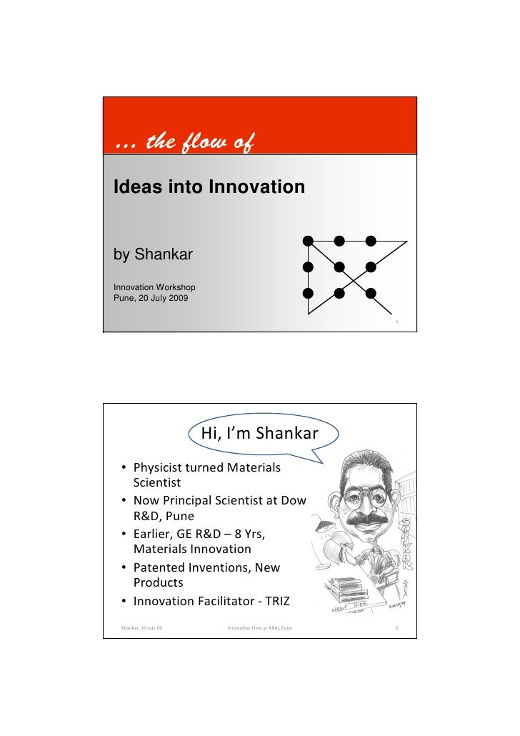 … the flow of Ideas into Innovation   by Shankar Innovation Workshop Pune, 20 July 2009   Shankar, 20 July 09      Innovat...