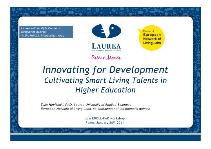 Innovation for development and cultivating smart living talents in higher education thh 26012011 final