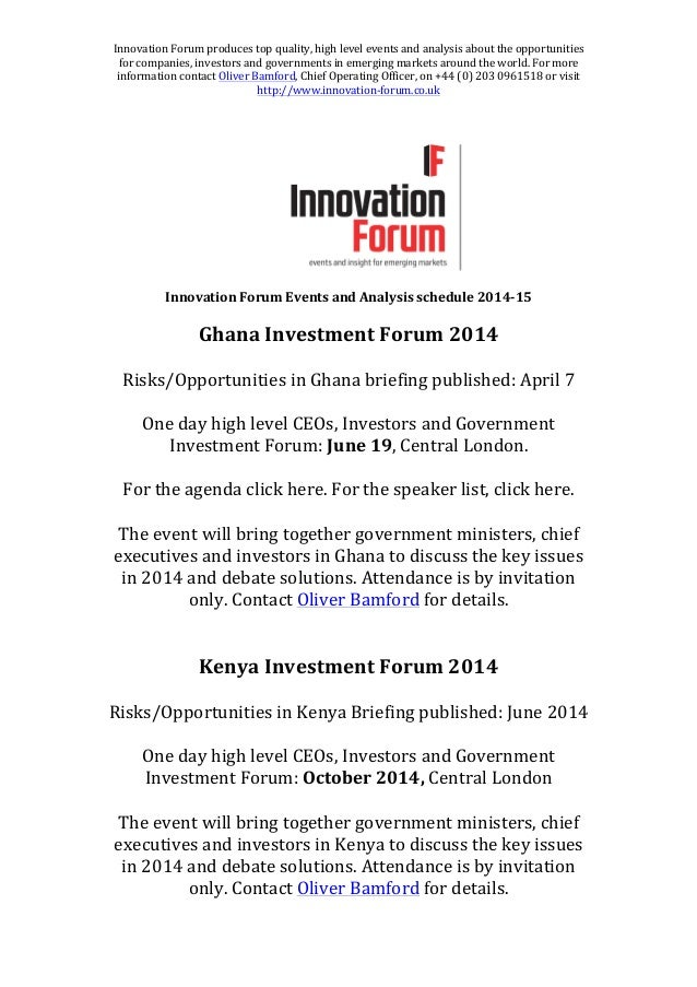 Innovation Forum - Events and Analysis Schedule 2014-2015