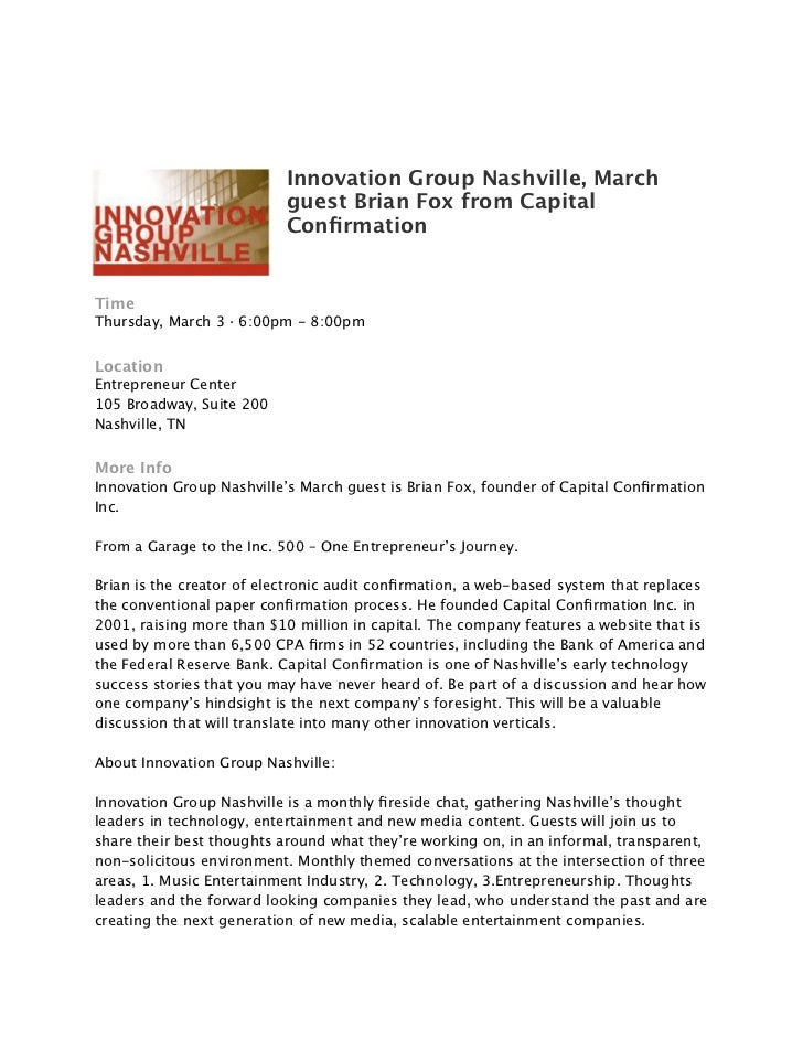 Innovation Group Nashville, March                          guest Brian Fox from Capital                          Confirmati...