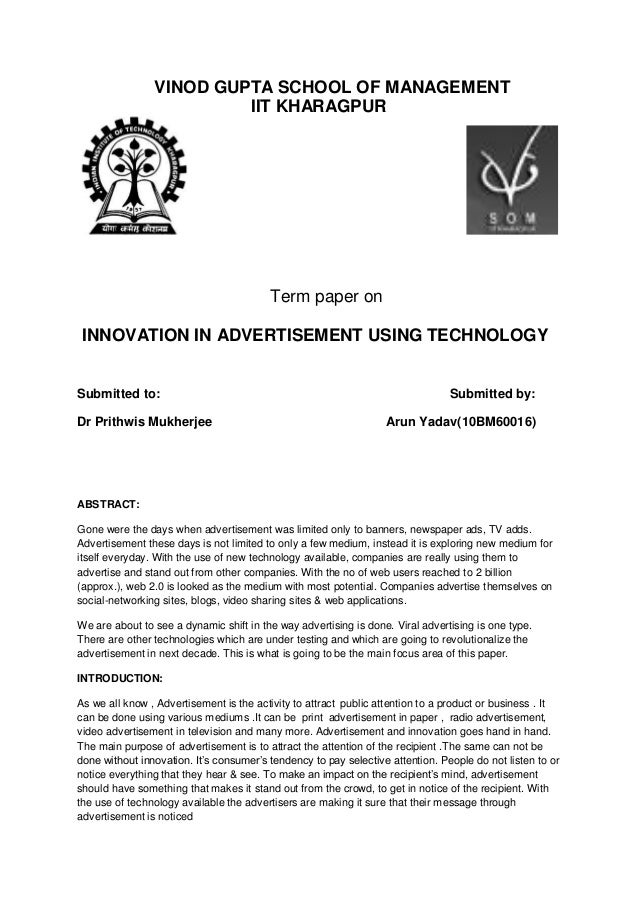 Innovation in advertisement using technology