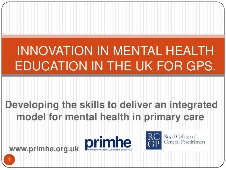 Primhe: Innovation in mental health education in the uk 2010