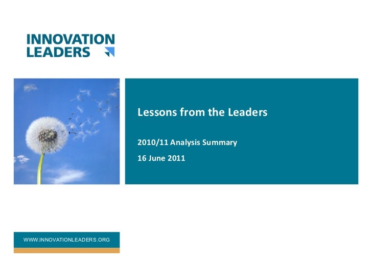 Innovation leaders analysis summary 2010 11