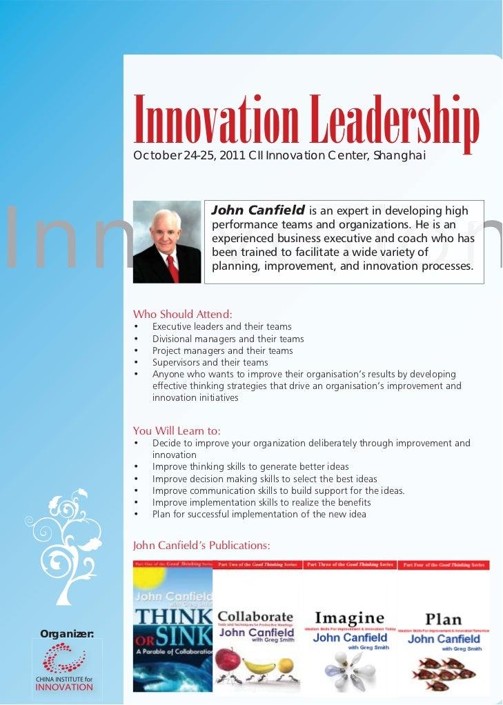 Innovation Leadership              October 24-25, 2011 CII Innovation Center, ShanghaiI nn ov at i o n                    ...