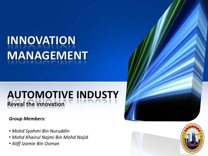 Innovation management   automotive industry