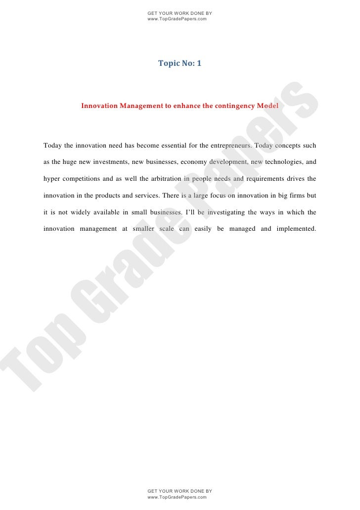 Innovation management to enhance the contingency model   academic assignment - www.topgradepapers.com