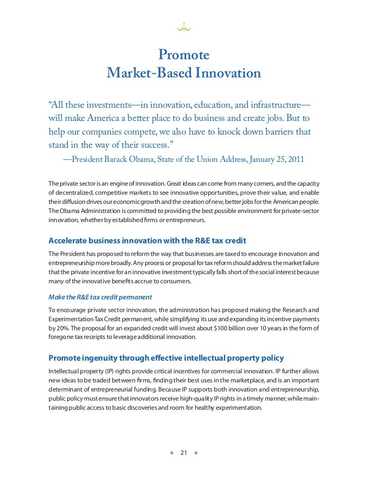 "Promote                       market-Based innovation""All these investments—in innovation, education, and infrastructure—w..."