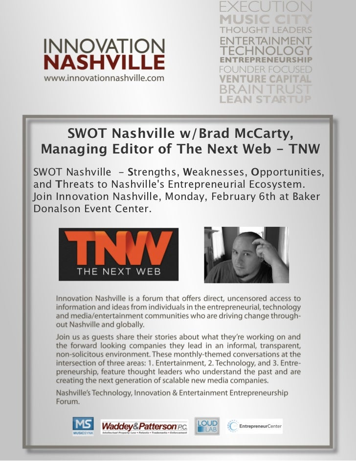 SWOT Nashville w/Brad McCarty, Managing Editor of The Next Web - TNWSWOT Nashville - Strengths, Weaknesses, Opportunities,...