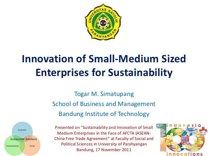Innovation of small medium enterprises for sustainability