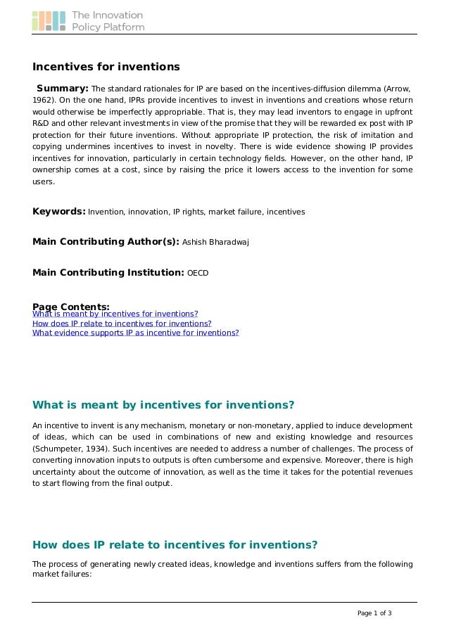 Incentives for Inventions - - Innovation Policy Platform (OECD)
