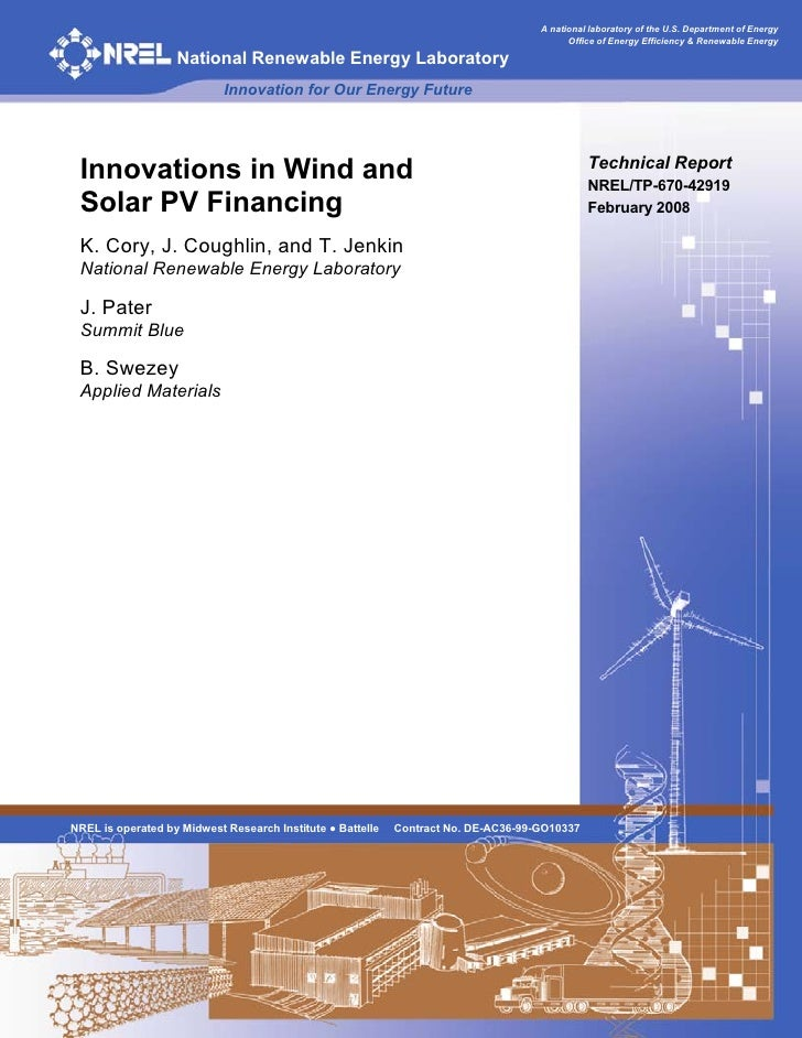 Innovations In Wind And Solar Pv Financing