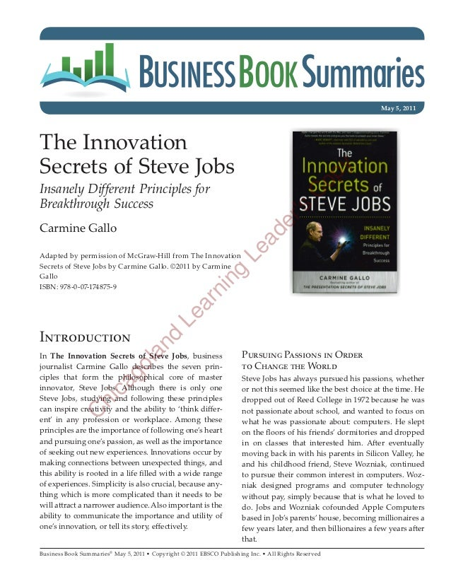 May 5, 2011The InnovationSecrets of Steve Jobs                                                                            ...