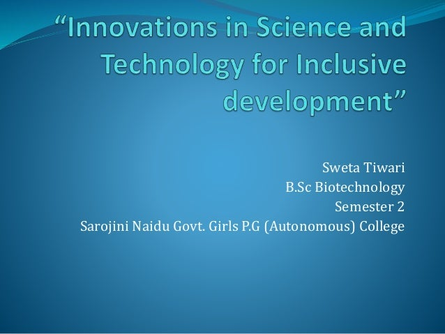 Innovations in science and technology for inclusive