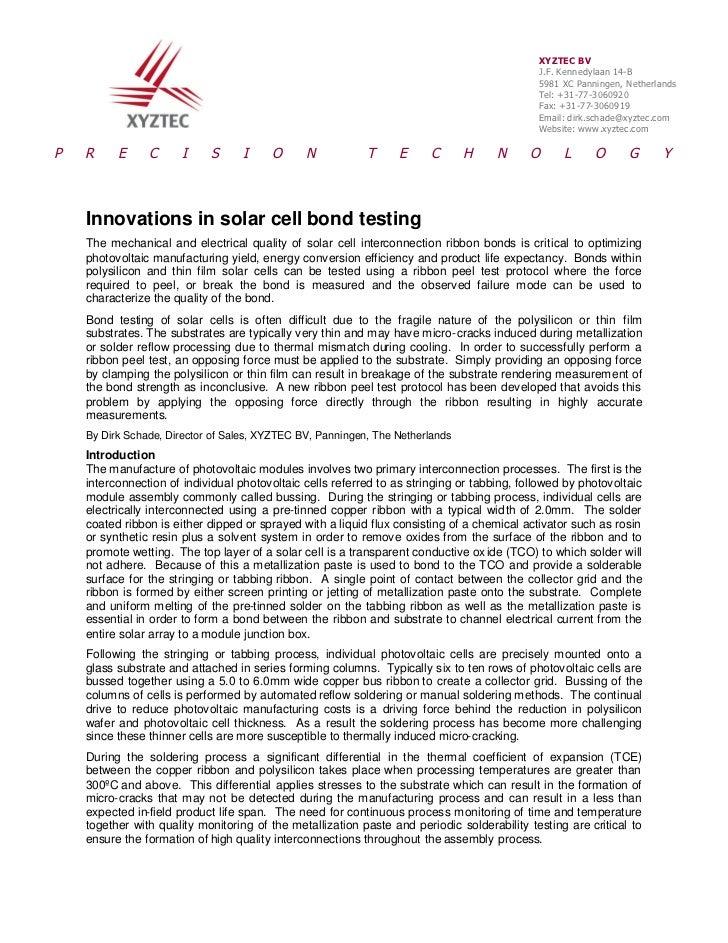 Innovations in solar cell bond testing