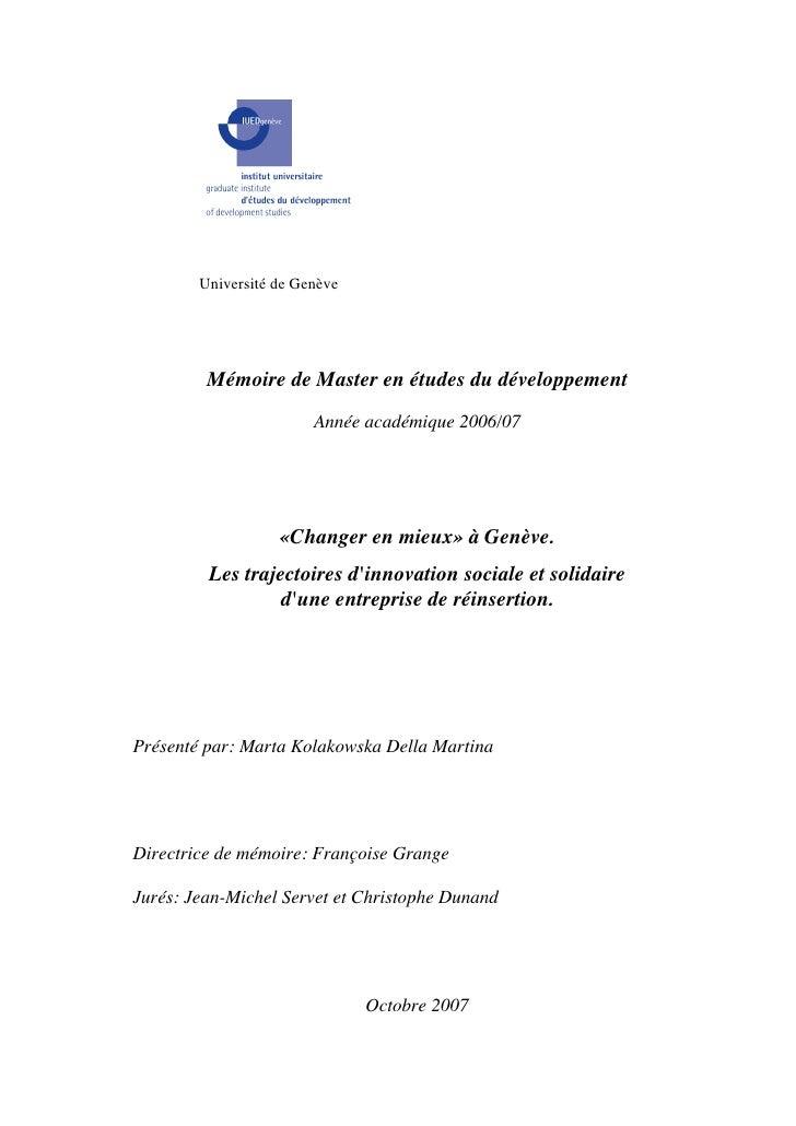 Université de Genève              Mémoire de Master en études du développement                         Année académique 20...
