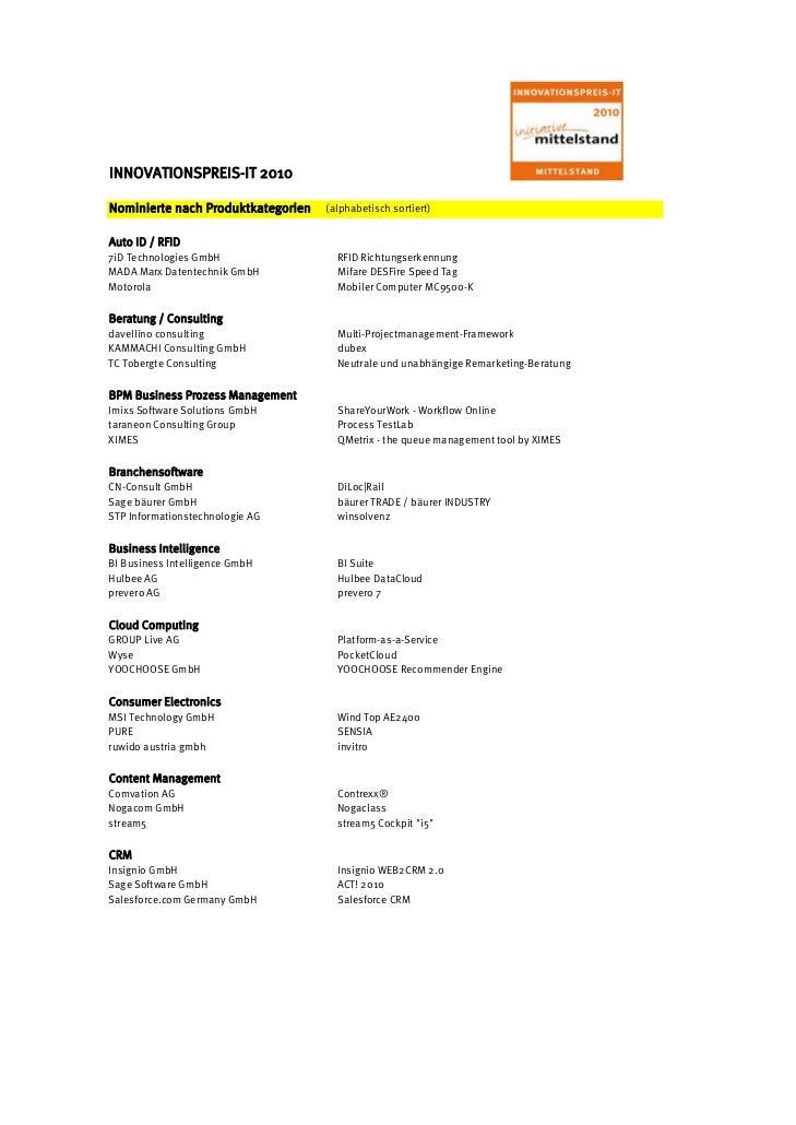 INNOVATIONSPREIS-IT 2010Nominierte nach Produktkategorien   (alphabetisch sortiert)Auto ID / RFID7iD Technologies GmbH    ...