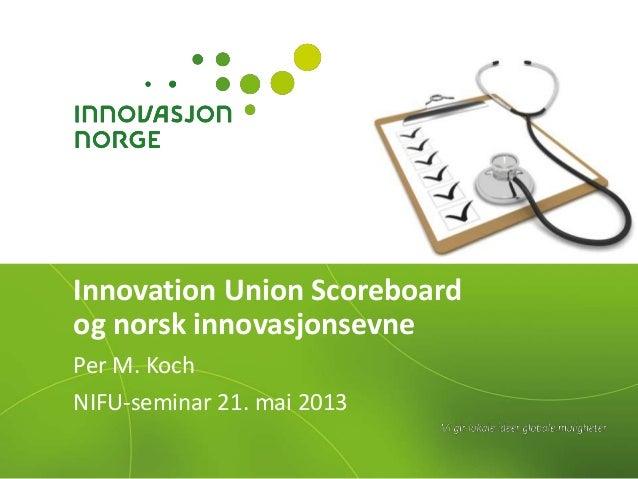Innovation Union Scoreboard og norsk innovasjon