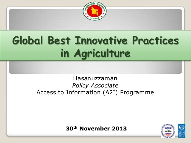 Innovation Workshop: Global Best Innovative Practices in Agriculture