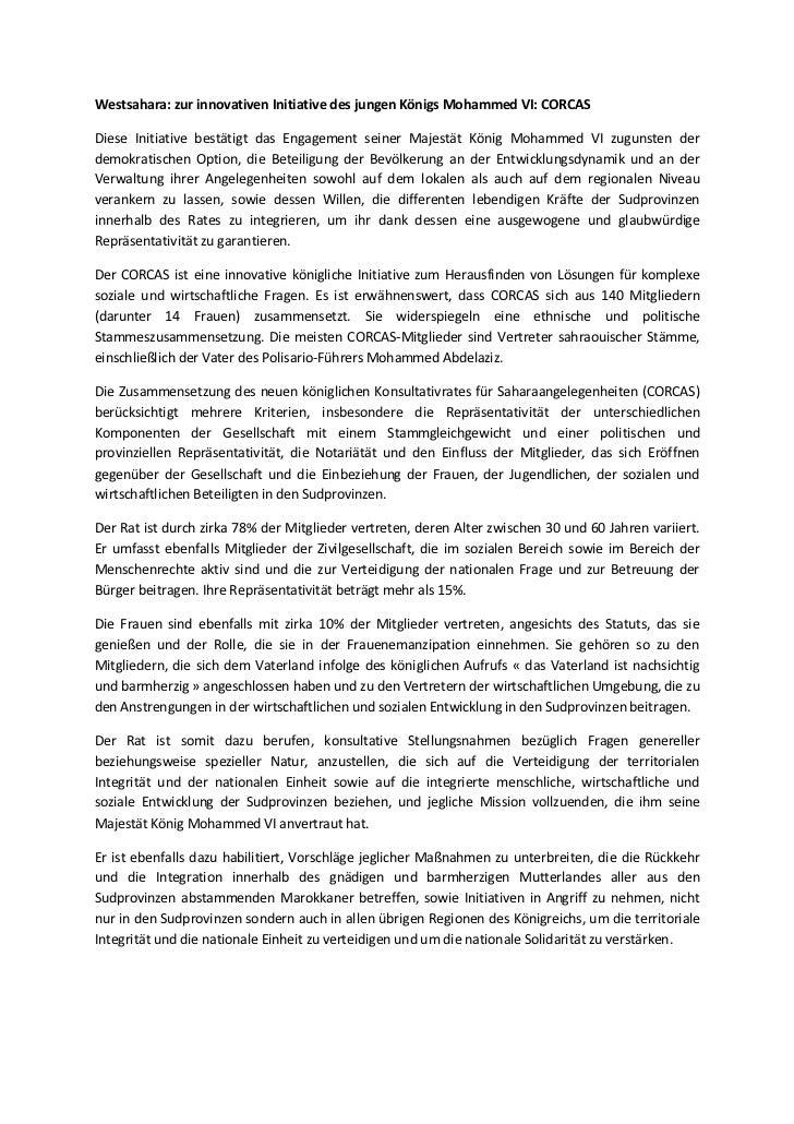 Westsahara: zur innovativen Initiative des jungen Königs Mohammed VI: CORCASDiese Initiative bestätigt das Engagement sein...