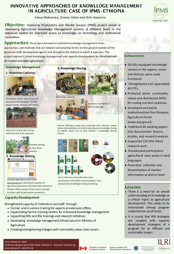 Innovative approaches of knowledge management in agriculture: The case of IPMS, Ethiopia