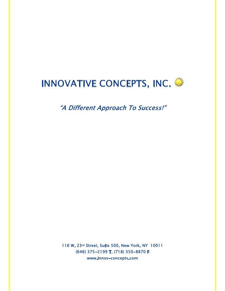 Innovative Concepts Brochure No Photos