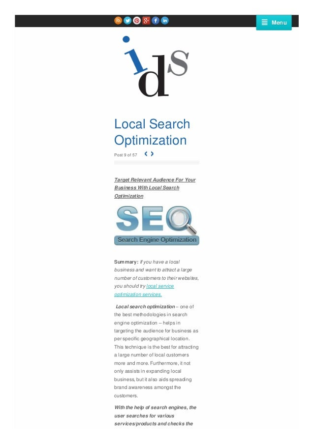 Menu  Local Search Optimization ‹› Post 9 of 57  Target Relevant Audience For Your Business With Local Search Optimization...