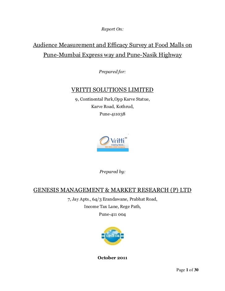 Report On:Audience Measurement and Efficacy Survey at Food Malls on   Pune-Mumbai Express way and Pune-Nasik Highway      ...