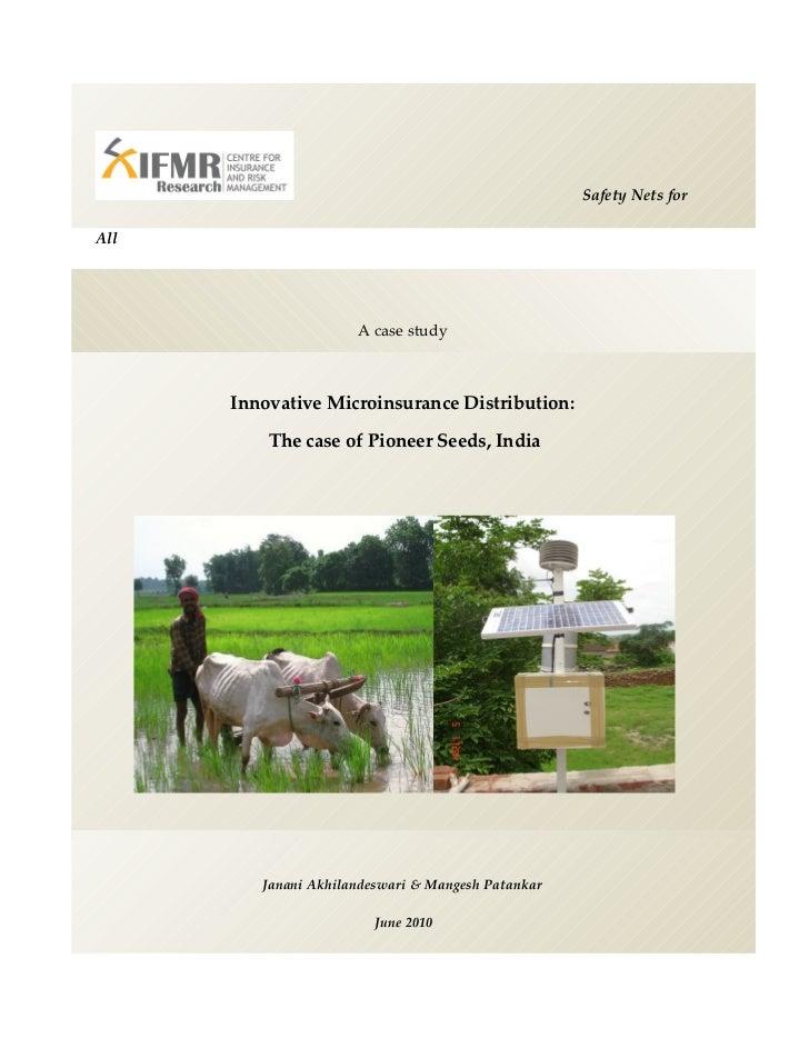 Innovative microinsurance distribution Pioneer Seeds