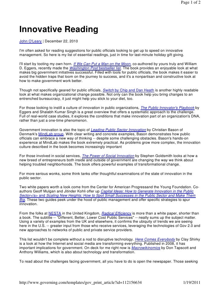 Page 1 of 2Innovative ReadingJohn OLeary | December 22, 2010Im often asked for reading suggestions for public officials lo...