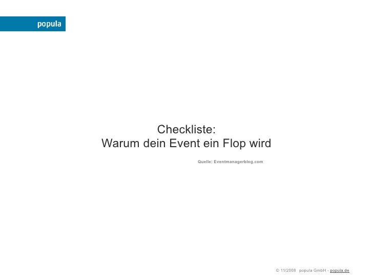 Checkliste: Warum dein Event ein Flop wird                 Quelle: Eventmanagerblog.com                                   ...
