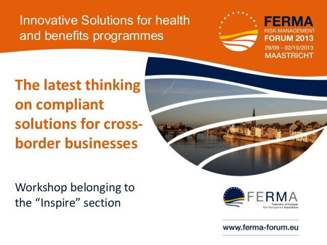 FORUM 2013 Innovative solutions for health  benefit programmes