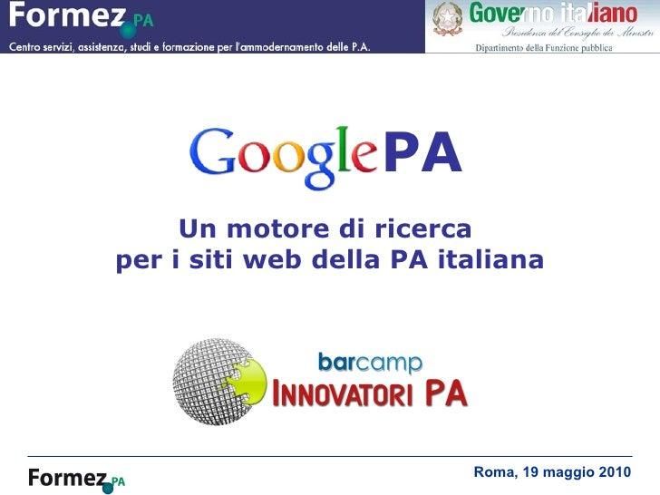 GooglePA, un motore di ricerca per i siti della PA italiana