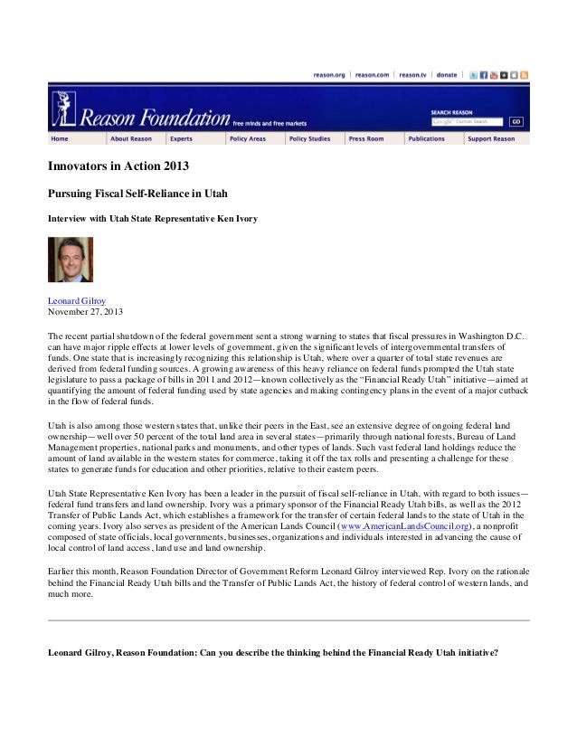 Reason Foundation Innovators in action 2013