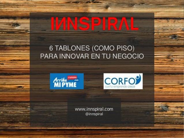 Contenidos16 TABLONES (COMO PISO)PARA INNOVAR EN TU NEGOCIOwww.innspiral.com@innspiral