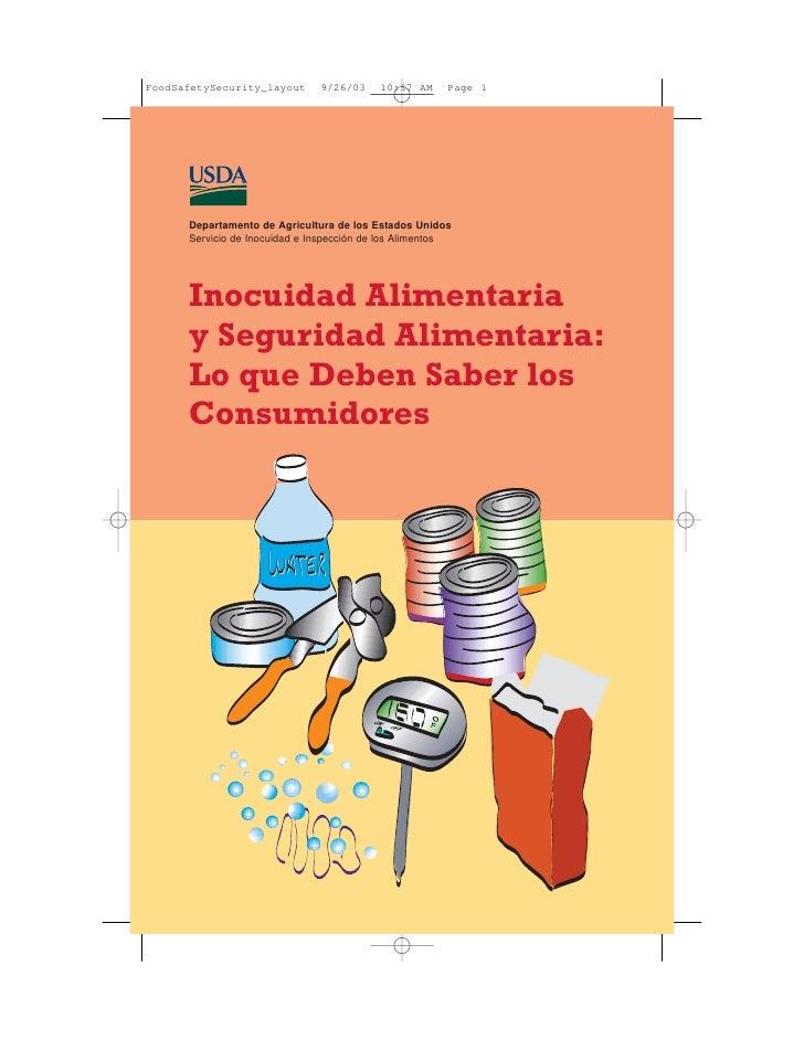 Departamento de Agricultura de los Estados Unidos Servicio de Inocuidad e Inspección de los Alimentos     Inocuidad Alimen...