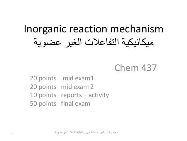 Inorganic reaction mechanism part i