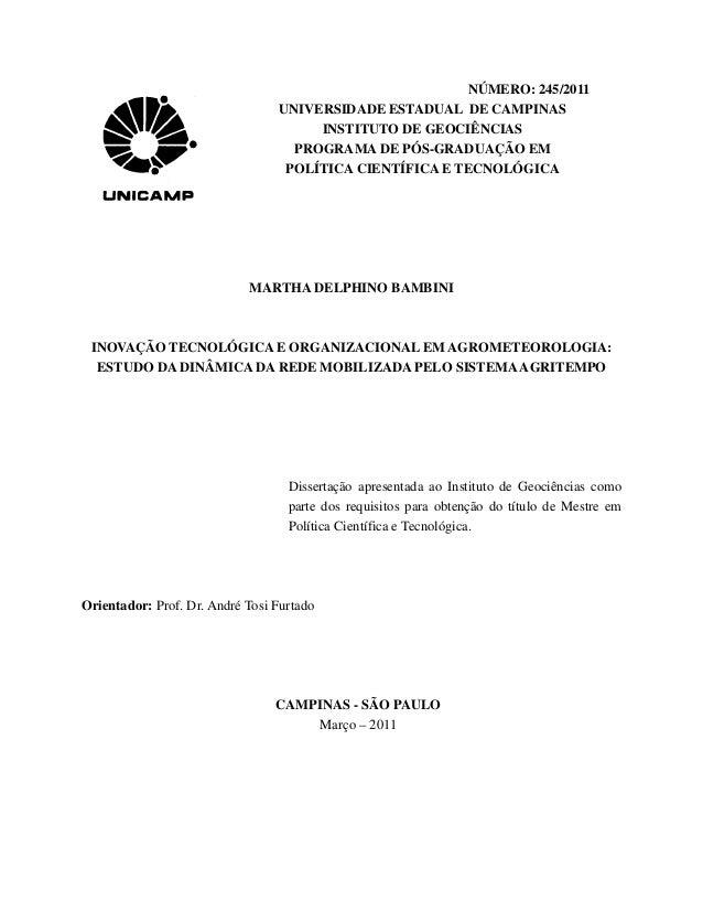 NÚMERO: 245/2011                                 UNIVERSIDADE ESTADUAL DE CAMPINAS                                      IN...