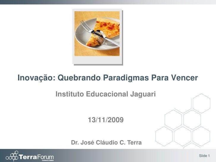 Inovação: Quebrando Paradigmas Para Vencer         Instituto Educacional Jaguari                    13/11/2009            ...