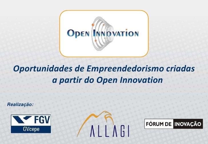 Oportunidades de Empreendedorismo criadas            a partir do Open Innovation  Realização: