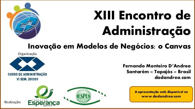 XIII Encontro de Administração Realização: Inovação em Modelos de Negócios: o Canvas Fernando Monteiro D'Andrea Santarém –...