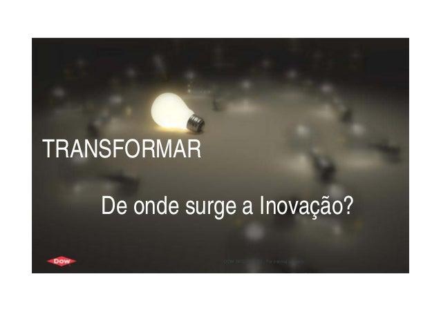 1 TRANSFORMAR De onde surge a Inovação? DOW RESTRICTED - For internal use only