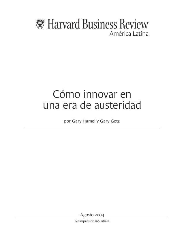 Inovar en una era de austeridad[1]