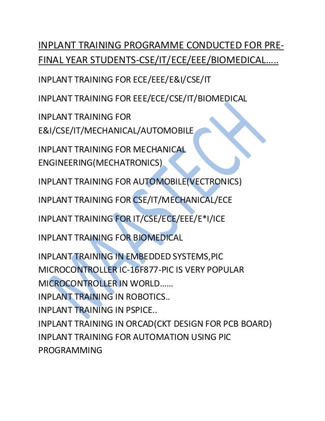 MECHANICAL INPLANT TRAINING-inplant training for mechanical engineering students in chennai