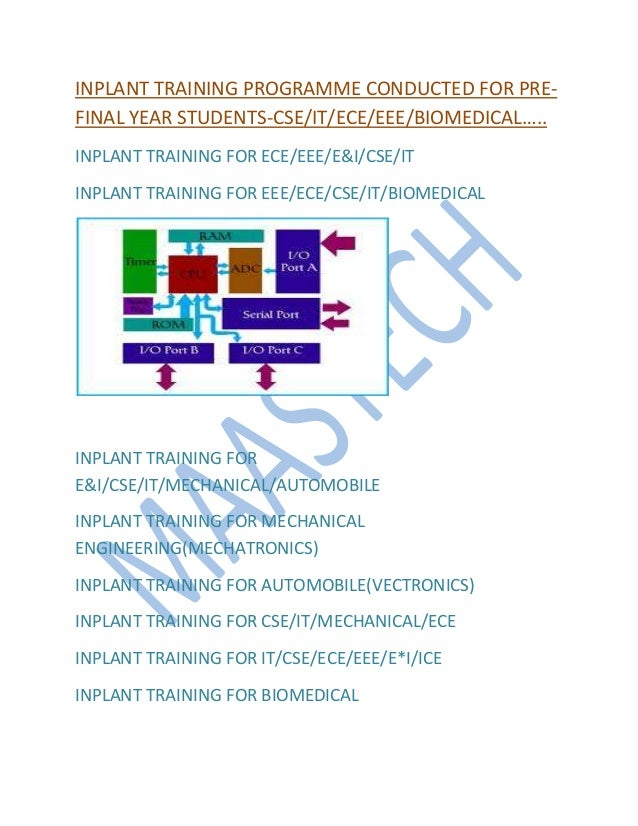 INPLANT TRAINING PROGRAMME CONDUCTED FOR PRE- FINAL YEAR STUDENTS-CSE/IT/ECE/EEE/BIOMEDICAL….. INPLANT TRAINING FOR ECE/EE...