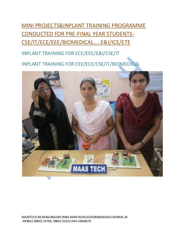 MINI PROJECTS&INPLANT TRAINING-PROJECT KITS FOR ECE/EEE/E&I/ICE/BIOMEDICAL
