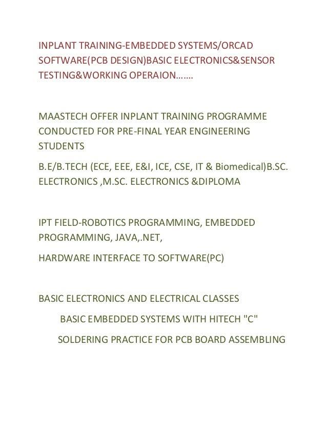 ELECTRONICS INPLANT TRAINING-ELECTRONICS(ECE)IN CHENNAI