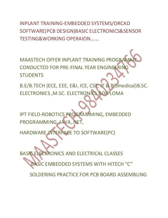INPLANT TRAINING IN CHENNAI FOR ECE STUDENTS-EMBEDDED TRAINING